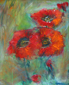 3  Red Poppies by Denice Palanuk Wilson