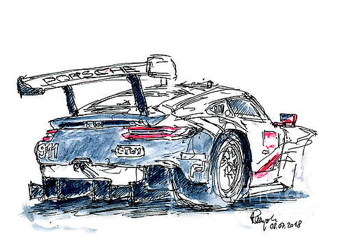 Frank Ramspott - Porsche GT Team Porsche 911 RSR Ink Drawing and Watercolor
