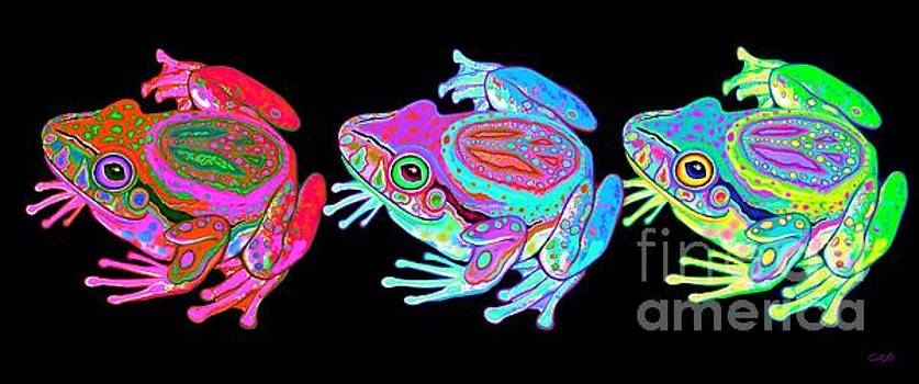 3 Rainbow Peace Frogs by Nick Gustafson