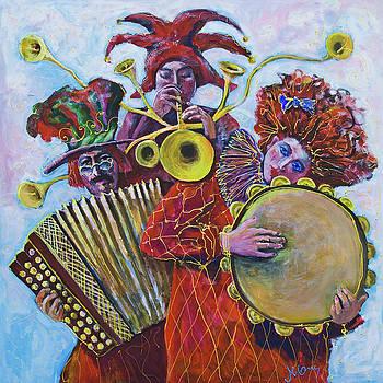 3 Red Musicians by Maxim Komissarchik
