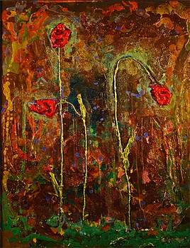 3 Roses on Dark by Marabeth Quin
