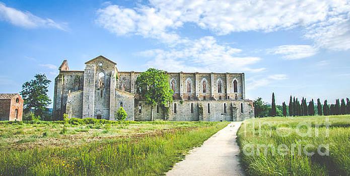 San Galgano Church ruins in Siena, Tuscany Italy by Luca Lorenzelli
