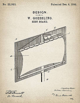 JESP Art and Decor - Sign Board Design - Patent Drawing for the 1892 W. Goessling Sign Board Design