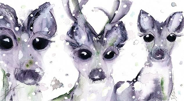 3 Snowy Deer by Dawn Derman