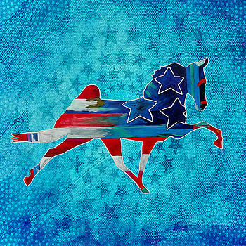 3 Stars Horse in blue stars by Gray