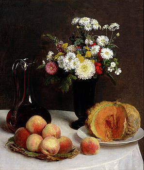Henri Fantin-Latour - Still Life with a Carafe, Flowers and Fruit