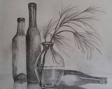 3 Wine Bottles and a Pine Branch in a Clear, Glass Vase by Sallie Wysocki