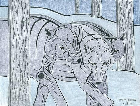 3 Wolves by Elliot Janvier