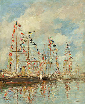 Yacht Basin At Trouville-Deauville by Eugene Boudin