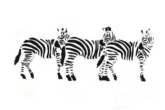 3 Zebras by Mary Atchison