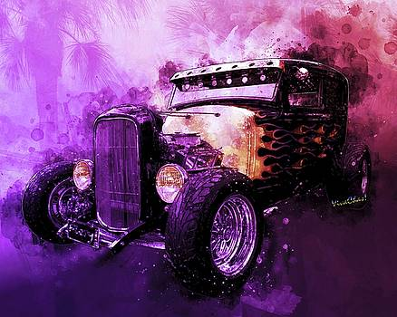 31 Ford Model A Fiery Hot Rod Classic by Chas Sinklier