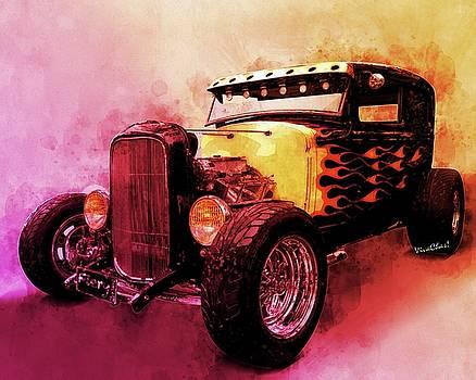 31 Model A Ford Fiery WaterColour by Chas Sinklier