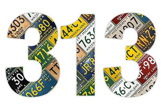 Design Turnpike - 313 Area Code Detroit Michigan Recycled Vintage License Plate Art On White Background