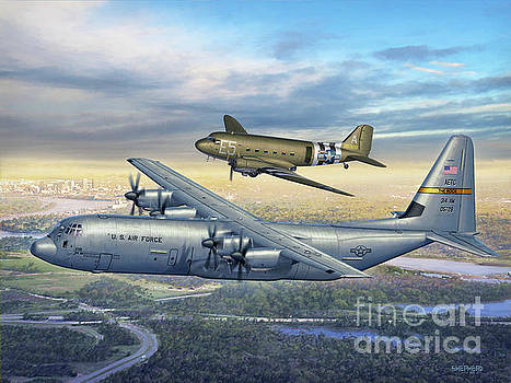 314th AW Legacy - C-130J and C-47 by Stu Shepherd