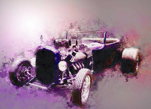 32 Ford Low Boy Roadster Watercoloured Sketch by Chas Sinklier
