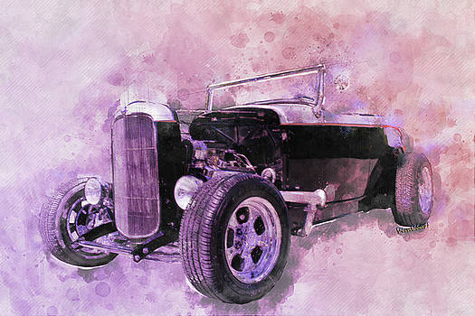 32 Ford Roadster Ink and Watercolor Rendering by Chas Sinklier