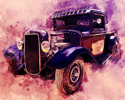 34 Ford Rat Rod Pickup Watercolour by Chas Sinklier
