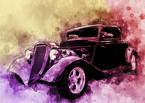 34 Ford Three Window Coupe Pen and Ink Watercolour by Chas Sinklier