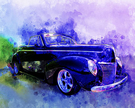 39 Mercury Convertible Watercolour Sketch by Chas Sinklier