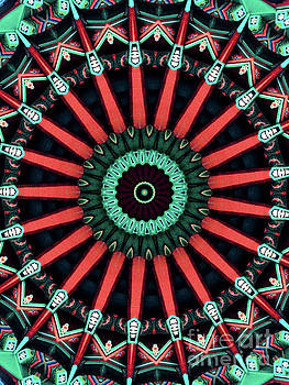 Colorful Kaleidoscope incorporating aspects of Asian Architectur by Amy Cicconi