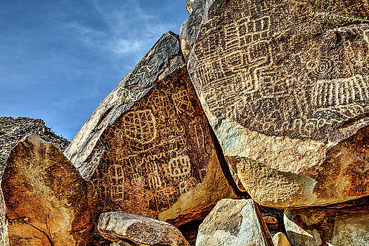 Grapevine Canyon Petroglyphs  by James Marvin Phelps