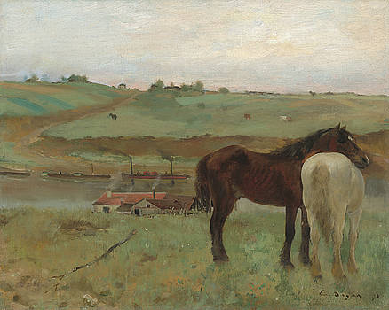 Horses In A Meadow by Edgar Degas