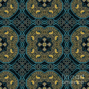 Modern Teal and Golden Kaleidoscope by Amy Cicconi