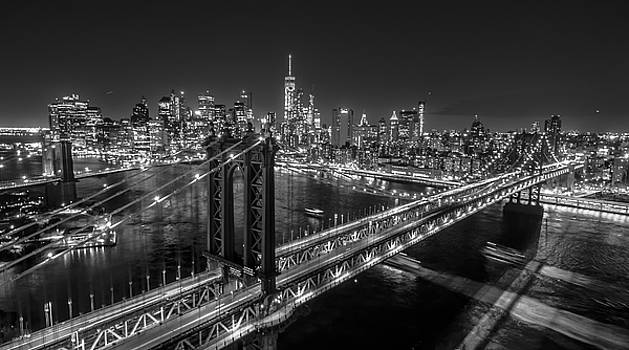 New York City, Manhattan Bridge at Night by Petr Hejl