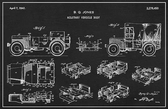 JESP Art and Decor - Patent Drawing for the 1942 Willys JEEP Military Vehicle Body by Byron Q. Jones