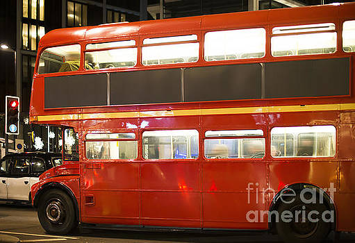 Red vintage bus in London.  by Deyan Georgiev