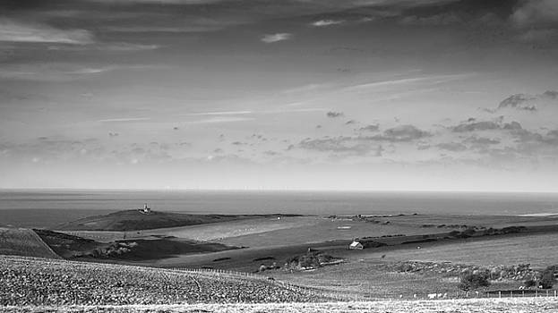 Stunning black and white landscape image of Belle Tout lighthous by Matthew Gibson