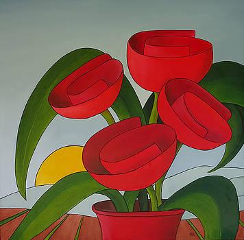 4 Tulicots en pot by Sonia BOYER