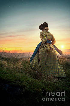 Victorian Woman On The Moors At Sunset by Lee Avison