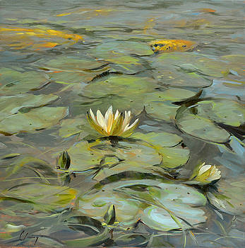 436 Golden Koi and Lilies by Chuck Larivey