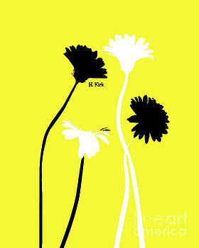 Heather Kirk - 4Daisies Black and White on Yellow