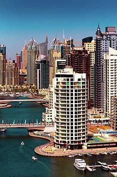 Amazing colorful dubai marina skyline. Dubai, United Arab Emirates. by Marek Kijevsky