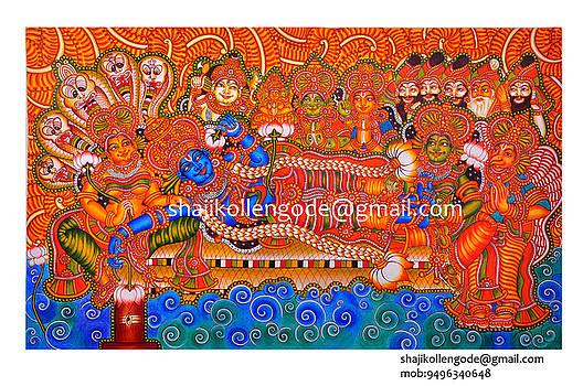 Anathasayanam -kerala Mural Painting by Shaji Kollengode