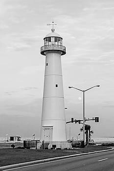 Scott Pellegrin - Biloxi Lighthouse with Moon - BW