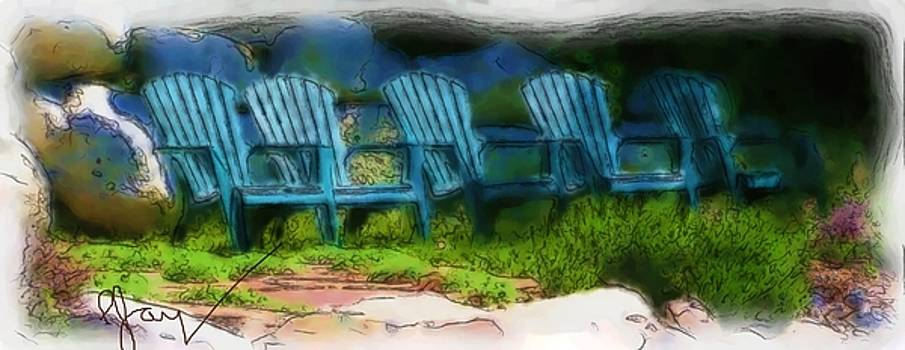 5 Chairs In Blu by Pjay Mcconnell