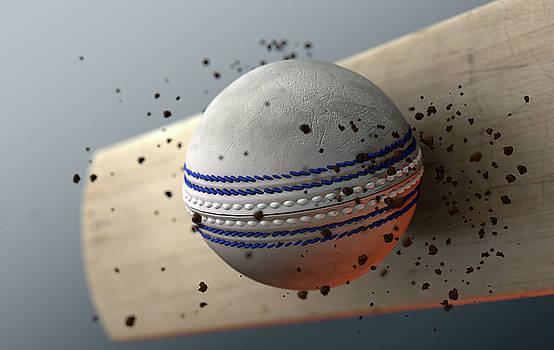 Cricket Ball Striking Bat In Slow Motion by Allan Swart