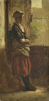 Girl at the window by Jacob Maris