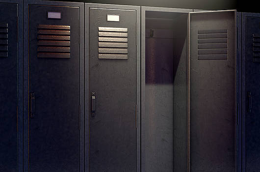 Locker Row And Open Door by Allan Swart