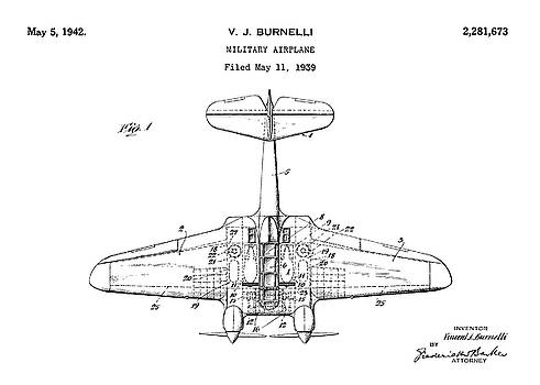 JESP Art and Decor - Military Airplane - Patent Drawing for the 1939 V. J. Burnelli Military Airplane