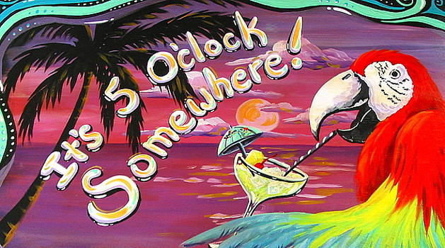 5 Oclock Somewhere parrot - tropical Island art by Debbie Criswell