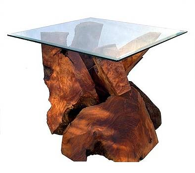 Redwood Glass Top End Table by Daryl Stokes