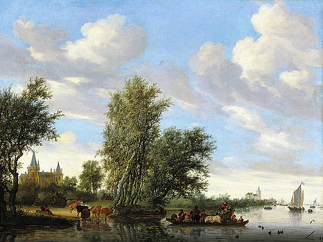 Salomon van Ruysdael - River Landscape with Ferry