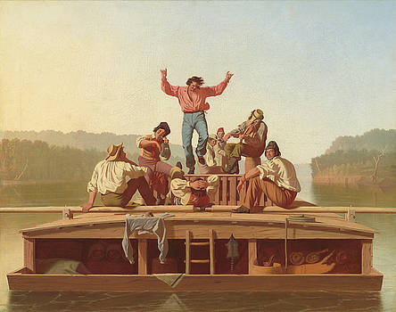 The Jolly Flatboatmen by George Caleb Bingham