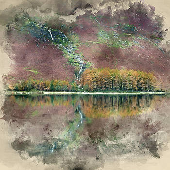 Watercolor painting of Beautiful Autumn Fall landscape image of  by Matthew Gibson