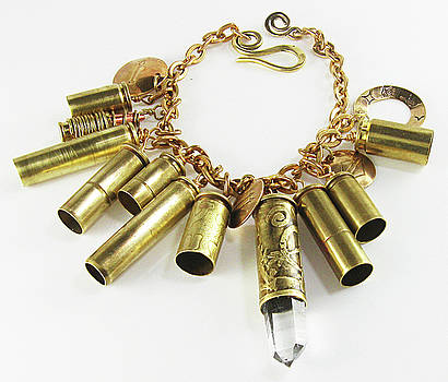 50 Caliber Bullet Shell Rock Crystal Mystical Bracelet  by Vagabond Folk Art - Virginia Vivier
