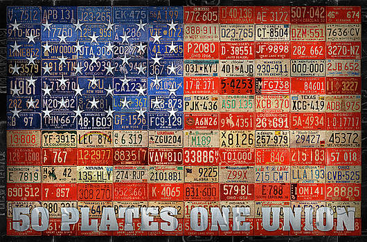 50 Plates One Union Recycled License Plate American Flag by Design Turnpike